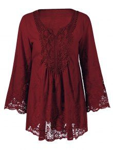 Lace Trim Plus Size Tunic Blouse - Wine Red
