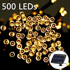 Weanas 500 LEDs Solar Power Fairy String Lights Warm White 166 feet 505M Solar Energy for Indoor Outdoor Home Garden Christmas Wedding Party Decoration >>> To view further for this item, visit the image link.