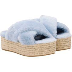 Miu Miu Sandals ($590) ❤ liked on Polyvore featuring shoes, sandals, pale blue, miu miu, platform shoes, slip-on shoes, slip on sandals and fur shoes