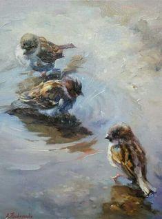 bird art by Alexander Prokopendo Wildlife Paintings, Wildlife Art, Animal Paintings, Watercolor Bird, Watercolor Animals, Watercolor Paintings, Stone Art Painting, Painting & Drawing, Bird Artwork