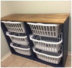 Laundry Basket Dresser, Laundry Room Baskets, Laundry Basket Storage, Tiny Laundry Rooms, Laundry Room Shelves, Laundry Room Remodel, Laundry Decor, Laundry Room Organization, Laundry Room Design