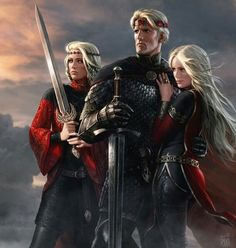 Aegon with his queen sisters Visenya and Rhaenys http://awoiaf.westeros.org/index.php/Aegon_I_Targaryen