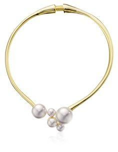 Kenneth Jay Lane Gold White Pearl Cluster Necklace