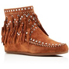 Ash Suede Fringe Studded Wedge Booties ($275) ❤ liked on Polyvore featuring shoes, boots, ankle booties, sienna, studded booties, ankle boots, wedge ankle booties, wedge bootie and short fringe boots