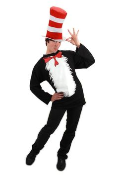 The Cat in The Hat is sporting a shirt, which is a lot better than wearing a skirt. Have some Dr. Seuss fun in the Dr. Seuss Cat In The Hat Costume Shirt.