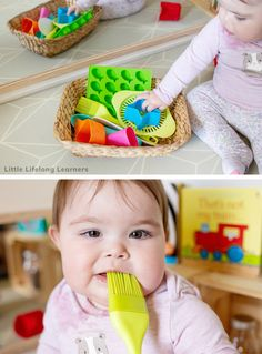 , Baby Play at 8 Months - Little Lifelong Learners , Easy play ideas for 8 month old babies! Find simple baby play ideas for your 8 month old! Sensory play is an easy way to play and learn with your babi. Diy Toys For 8 Month Old, 8 Month Baby Toys, 7 Month Old Baby Activities, 8 Month Old Baby, Infant Activities, Diy Baby Toys 8 Months, Baby Sensory Play, Baby Play, Diy Sensory Toys For Babies