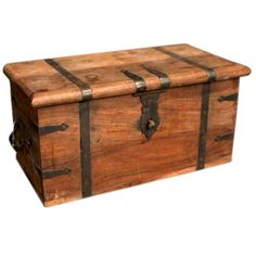 Antique Wooden Trunk | From a unique collection of antique and modern trunks and luggage at http://www.1stdibs.com/furniture/more-furniture-collectibles/trunks-luggage/