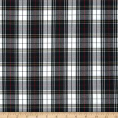 Polyester Uniform Plaid Black/White/Red Poplin from This medium weight woven fabric is yarn dyed with a full-bodied drape. It is perfect to use for skirts, jumpers, school uniforms, kilts, and blazers. Plaid Fabric, Jacquard Fabric, Red Fabric, Poplin Fabric, Woven Fabric, Half Shirts, Stretchy Headbands, Black White Red, Black Plaid