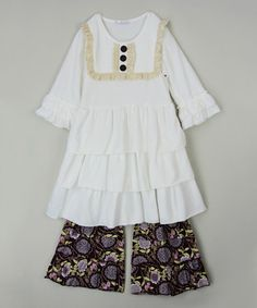 Look what I found on #zulily! White Tiered Tunic & Ruffle Pants - Infant, Toddler & Girls #zulilyfinds