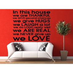 Full Color House Rules, We are Family Quote English Letter Removable Mural Wall Sticker Decal size 33x39