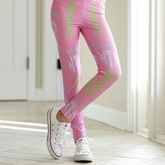 Girls Pink INITIALS & NAME Arden Leggings