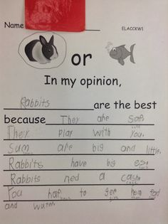 Opinion Writing in Kindergarten: Reading and Writing go hand-in-hand
