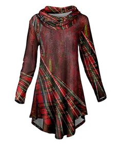 would love to do something like this with our Boyd Tartan.  Azalea | Red & Black Plaid Cowl Neck Tunic - Plus Too