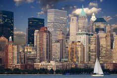 #buildings #city #manhattan #new york #new york city #nyc #river #sail boat #skyline #skyscraper #urban #usa