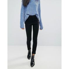 Pepe Jeans Regent Skinny Jeans (£55) ❤ liked on Polyvore featuring jeans, black, print jeans, cut skinny jeans, tall jeans, mid rise jeans and embellish jeans