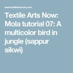 Textile Arts Now: Mola tutorial 07: A multicolor bird in jungle (sappur sikwi)