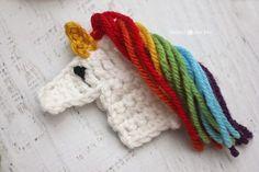 Repeat Crafter Me: U is for Unicorn: Crochet Unicorn Applique - free crochet pattern Crochet Flower Hat, Crochet Garland, Crochet Flower Patterns, Crochet Beanie, Crochet Applique Patterns Free, Crochet Unicorn Pattern, Free Form Crochet, Love Crochet, Crochet Gifts