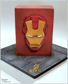 Iron Man Cake (with 2D 'mask' pictorial)