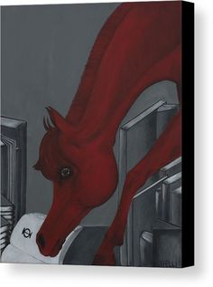Horse Painting Canvas Print featuring the painting Reading Horse by THELLI Helenia Tedesco