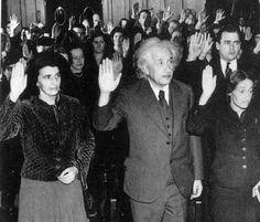 Albert Einstein in 1940 getting his American citizenship