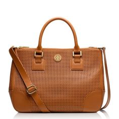 Tory Burch Brown Perforated Robinson Classic Robinson Bag by Tory Burch. Was only used for 2 weeks so it's in pristine condition! The side snap in 3rd picture does not close, but I think that's because the leather is still stiff and new. Comes with a shoulder strap. Does not come with cards or dust bag, but was originally purchased from Bloomingdales. Offers welcome! Tory Burch Bags Totes