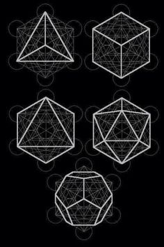 Metatron's Cube and the Platonic Solids 1) Tetrahedron: Manifestation and creation. Fire. 2) Hexahedron: The physical realm. Earth. 3) Octahedron: Love, compassion, healing, acceptance and forgiveness. Air. 4) Dodecahedron: Meditation, awareness, awakening, higher consciousness, spiritual ascension and universal life force. Spirit. 5) Icosahedron: Prayer and transformation. Water.