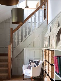 Paneling For Walls In Staircase Farmhouse With Flat Balusters Balustrade