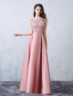 Chic A-line Scoop Pink Satin Applique Modest Prom Dress Evening Dress AM398 a7d33791bb74