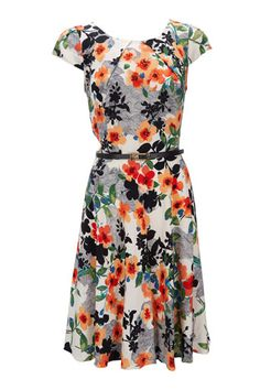Ivory Floral Belted Dress - lightweight and flattering cut make this is a must have for vacation!