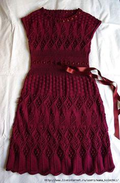 free knitted dress pattern in Russian Sweater Knitting Patterns, Knitting Designs, Knitting Yarn, Knit Skirt, Knit Dress, Dress Skirt, Moda Crochet, Vestidos Fashion, Crochet Clothes