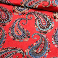 Vibrant Paisley Brocade by fabricAsians