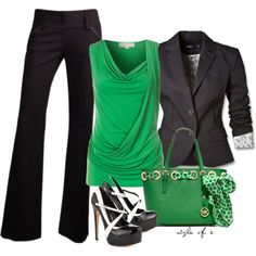 Green, Black, & White, created by styleofe on Polyvore