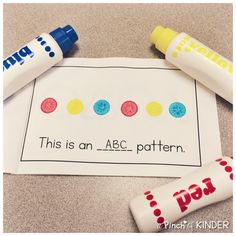 Teaching Patterning in FDK - Part 2 - A Pinch of Kinder Patterning Kindergarten, Number Sense Kindergarten, Kindergarten Math, Teaching Patterns, Math Patterns, Math Classroom, Literacy Centers, Pattern Books, Pattern Making