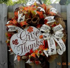 Give thanks deco mesh wreath/Poly burlap wreath/Ruffled deco mesh wreath/Autumn deco mesh wreath/Fall wreath/Primitive Fall wreath by EandJcrafts on Etsy