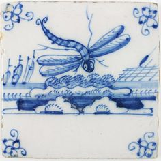 Antique Delft tile in blue with a large dragonfly, 18th century