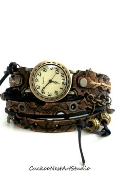 Vintage Looking Wrap Watch, Womens leather watch, Unique Jewelry, Bracelet Watch, Wrist Watch, Brown - Steampunk
