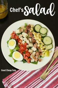 Chef's Salad Recipe | Good Cheap Eats - A typical chef's salad boasts hard-boiled eggs, cucumbers, tomatoes, cheese, and meat on a bed of dressed greens. This garlicky anchovy vinaigrette adds some punch to the melange.