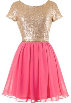 Pink Dessert Dress: Features a glittering gold sequin bodice framed by angelic cap sleeves, elegant V-design to the rear crowning an exposed zipper, and a gracefully gathered hot pink skirt to finish.
