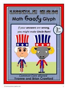 United States of America Math Goofy Glyph (3rd Grade Common Core) $
