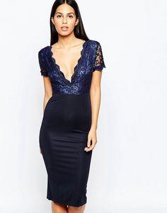 Club L Midi Dress with Lace Scallop Plunge