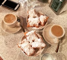 Food & Travel #nutritiontips - continued from previous post:  Step 10: Allow yourself a spurge you would love. The #beignets and dark roasted coffee & chicory at #cafedumonde were worth it  Step 11: To be continued... @cafedumondeofficial @cafedumonde #beignet #beignetsandcoffee #neworleans #itsyournola #nola #coffeetime #coffeebreak #summertrip2016 #donuts #frenchquarter by everybitematters