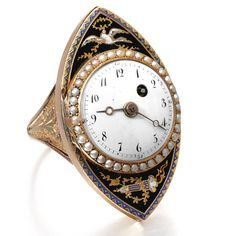 a gold, enamel and pearl set rin Antique Watches, Antique Clocks, Antique Rings, Vintage Watches, Ring Watch, Bracelet Watch, Silver Jewelry, Vintage Jewelry, Jewelry Bracelets