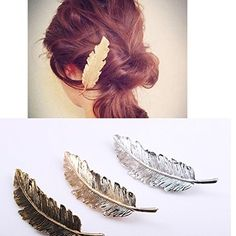 Tinksky Leaf Shaped Hair Clip Pin Claw Headwears Hair Accessories Pack of 2 (Golden+Silver)