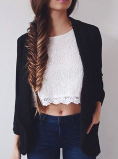 Blazer and white lace top