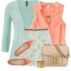 mint and coral outfit, 22 outfit ideas to try this spring http://www.justtrendygirls.com/22-outfit-ideas-to-try-this-spring/
