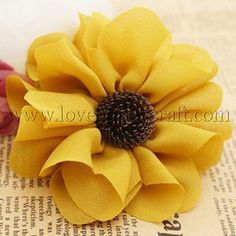 Handmade Flower with Round Petal Goldenrod Fabric