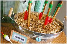 Cute pretzel fishing poles with Swedish fish at a Vintage Fishing Party #vintagefishing #partyfood