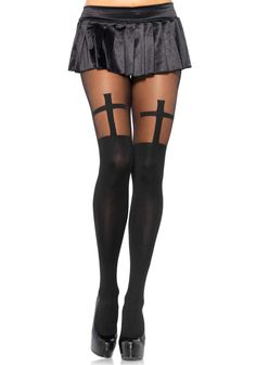 Spandex opaque cross pantyhose with sheer thigh accent - by Leg Avenue One Size Fits Most Style# 7903 I Want, Sheer Tights, Opaque Tights, Suspender Tights, Opaque Stockings, Black Stockings, Thigh High Socks, Thigh Highs, Pantyhose Legs