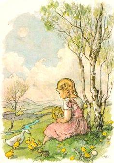 Springtime on the Hill. by Marie Kvěchová-Fischerová Vintage Postcards, Vintage Images, Vintage Art, Old Greeting Cards, Arte Country, Retro Kids, Children's Book Illustration, Book Illustrations, Vintage Children