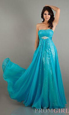Long Strapless Empire Waist Dress at PromGirl.com